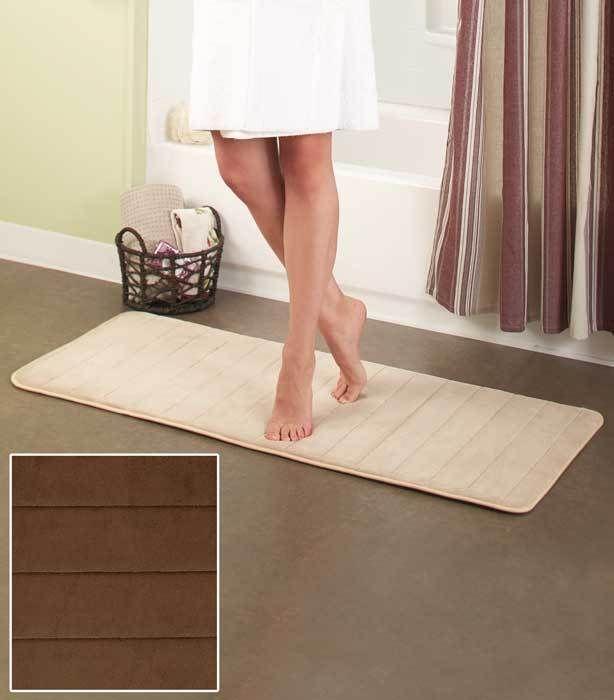 Plush Foam Rug Bath Runners Chocolate X Long Bathroom Mat - Long bath runner for bathroom decorating ideas