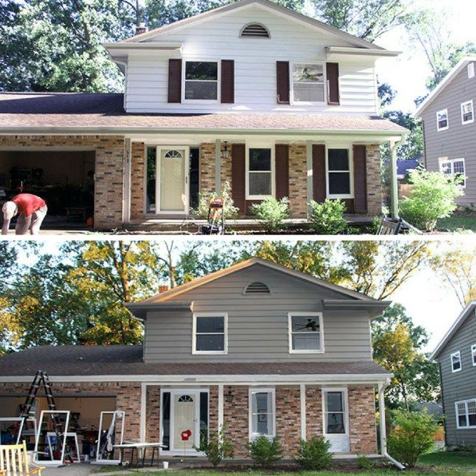 Painting Aluminum Siding With A Paint Sprayer Brick Exterior House House Paint Exterior Exterior Paint Colors For House
