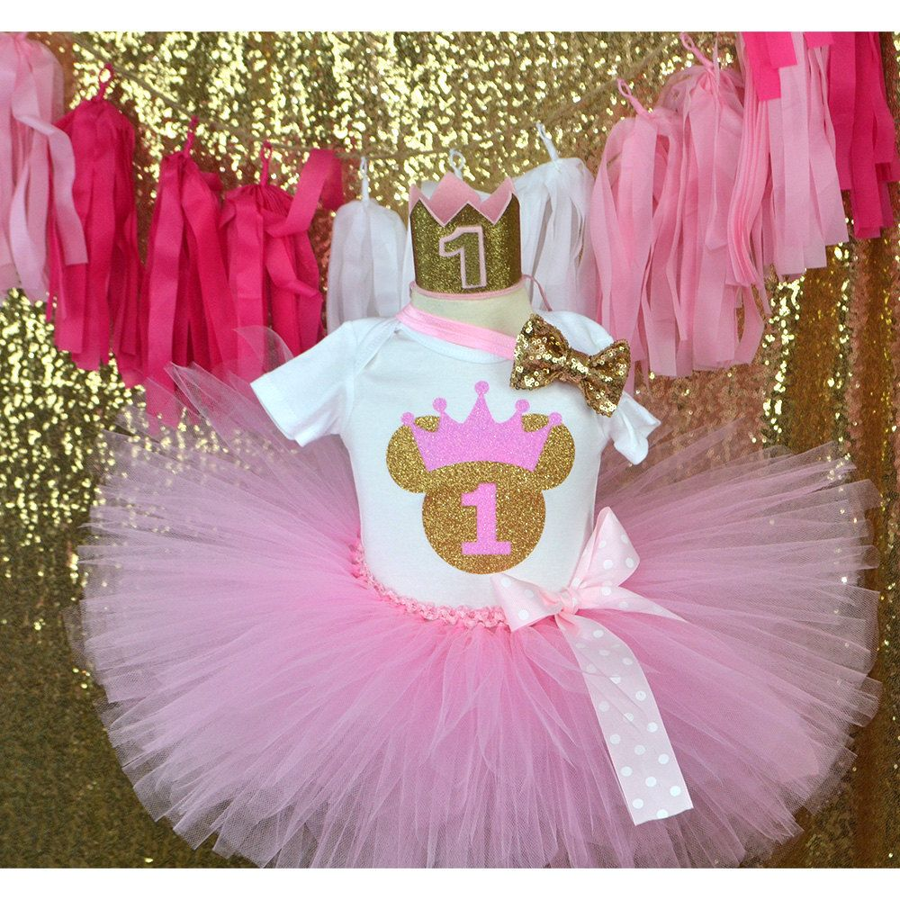 Pink Gold Minnie mouse First Birthday Outfit, smash cake, Birthday ...