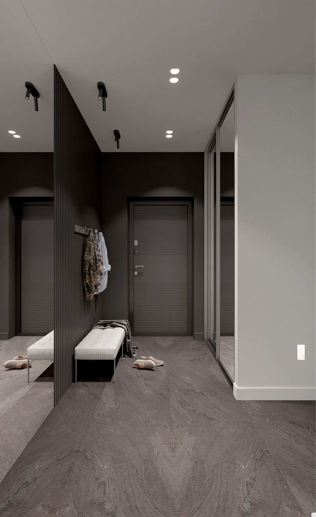 Apartment in dark tones on Behance  Apartment entrance, Hallway