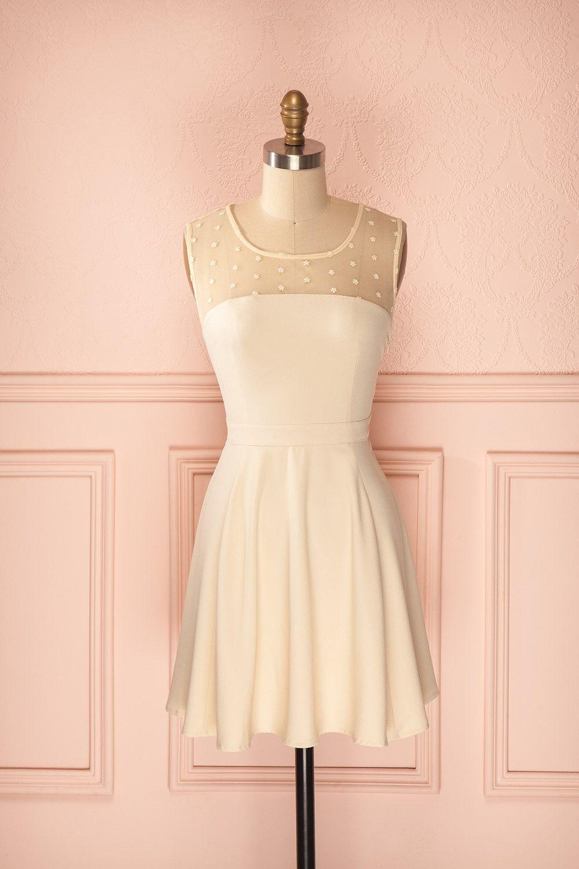 Pia - Cream colour mesh neckline dress