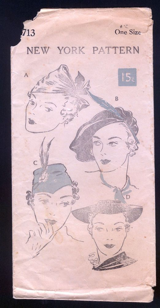 1930s New York Pattern -  Ladies' Hats in Four Styles