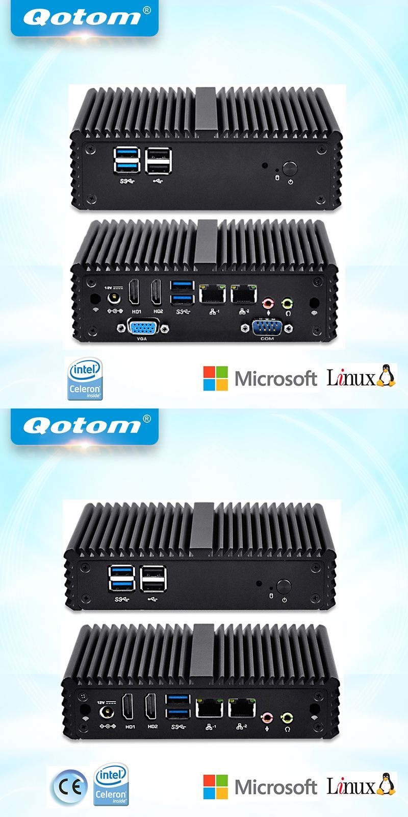 QOTOM Quad core Mini PC with Celeron N3150 processor onboard, 2 LAN
