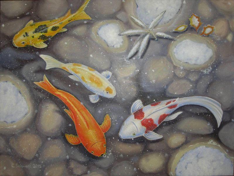 Kois im winter fische kunst gemalt bild teich von acrylfee for Goldfische winter teich
