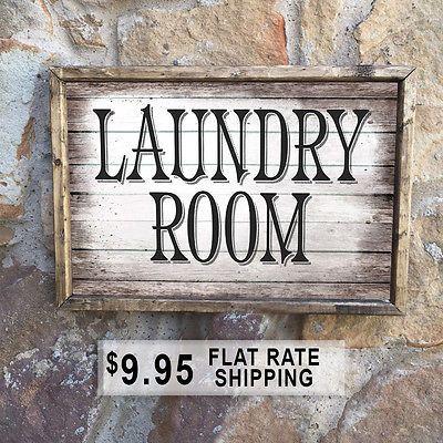 Handmade Wood Laundry Sign Decor Mudroom Signs Rustic