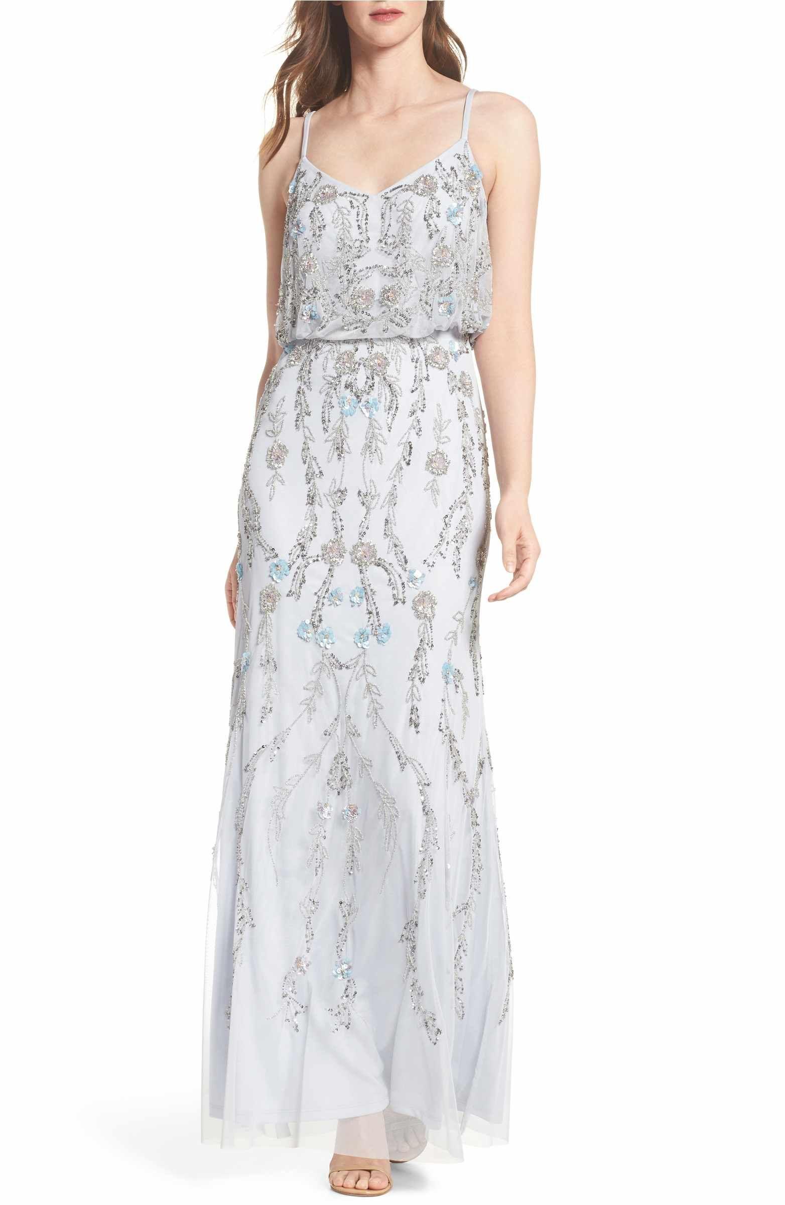 1f2e04e412e9 Adrianna Papell Mesh Blouson Gown (Regular   Petite)