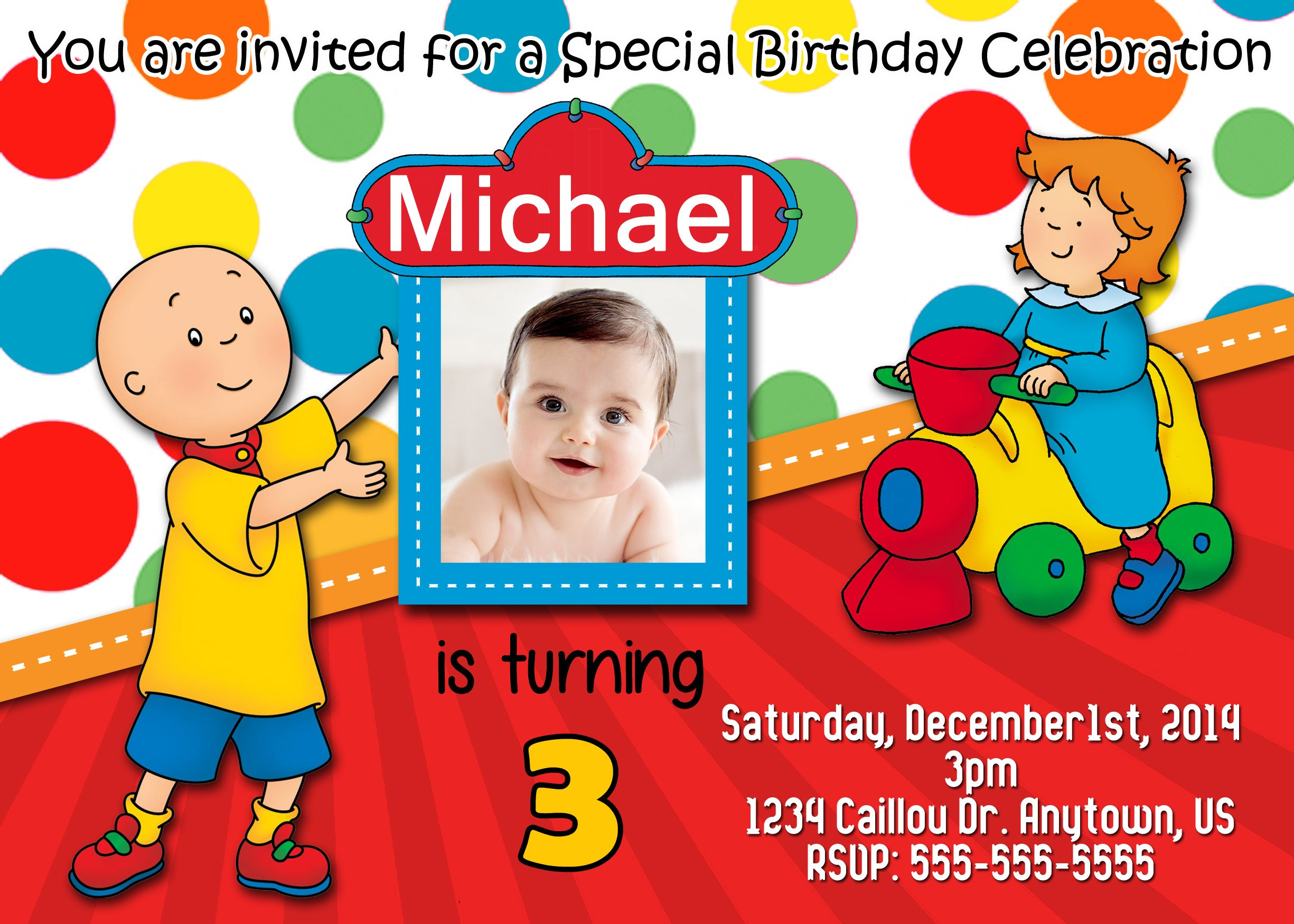 Caillou Birthday Invitations $8.99 free same day service available ...