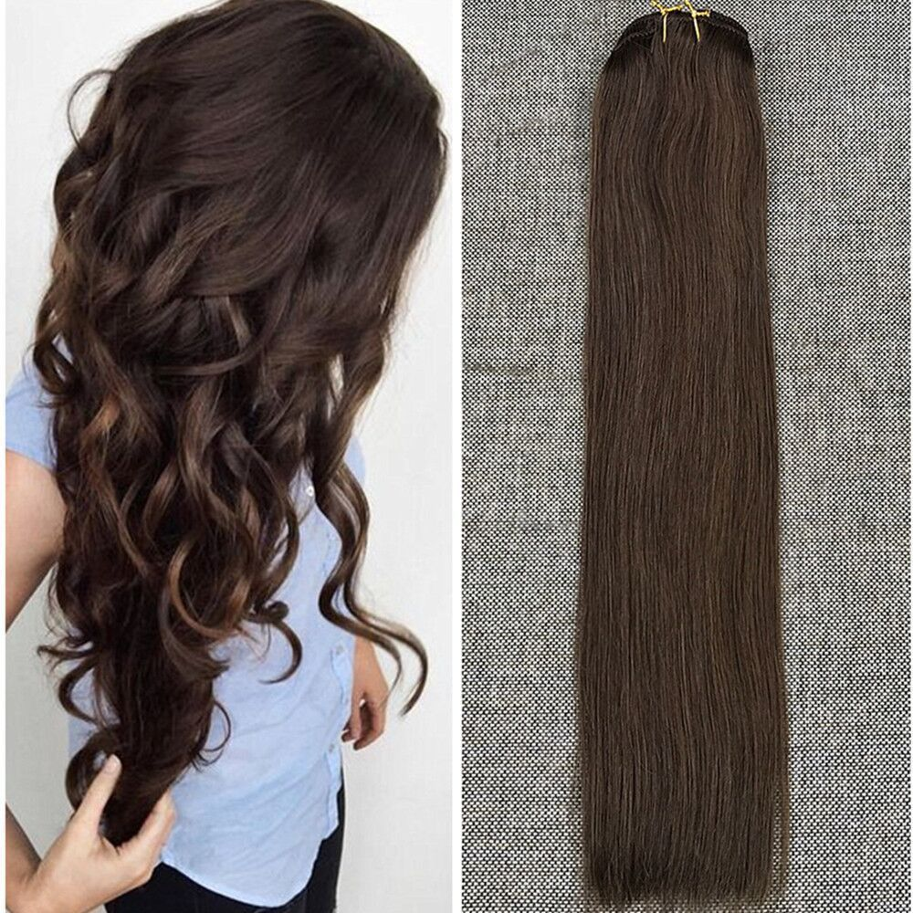 Ombre Dark Brown Clip In Remy Human Hair Extensions Full Head