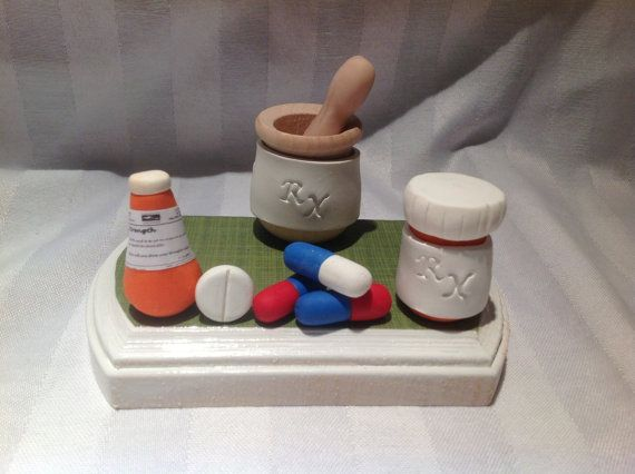 Polymer clay business card holder,pharmacist business card holder - pharmacy letter