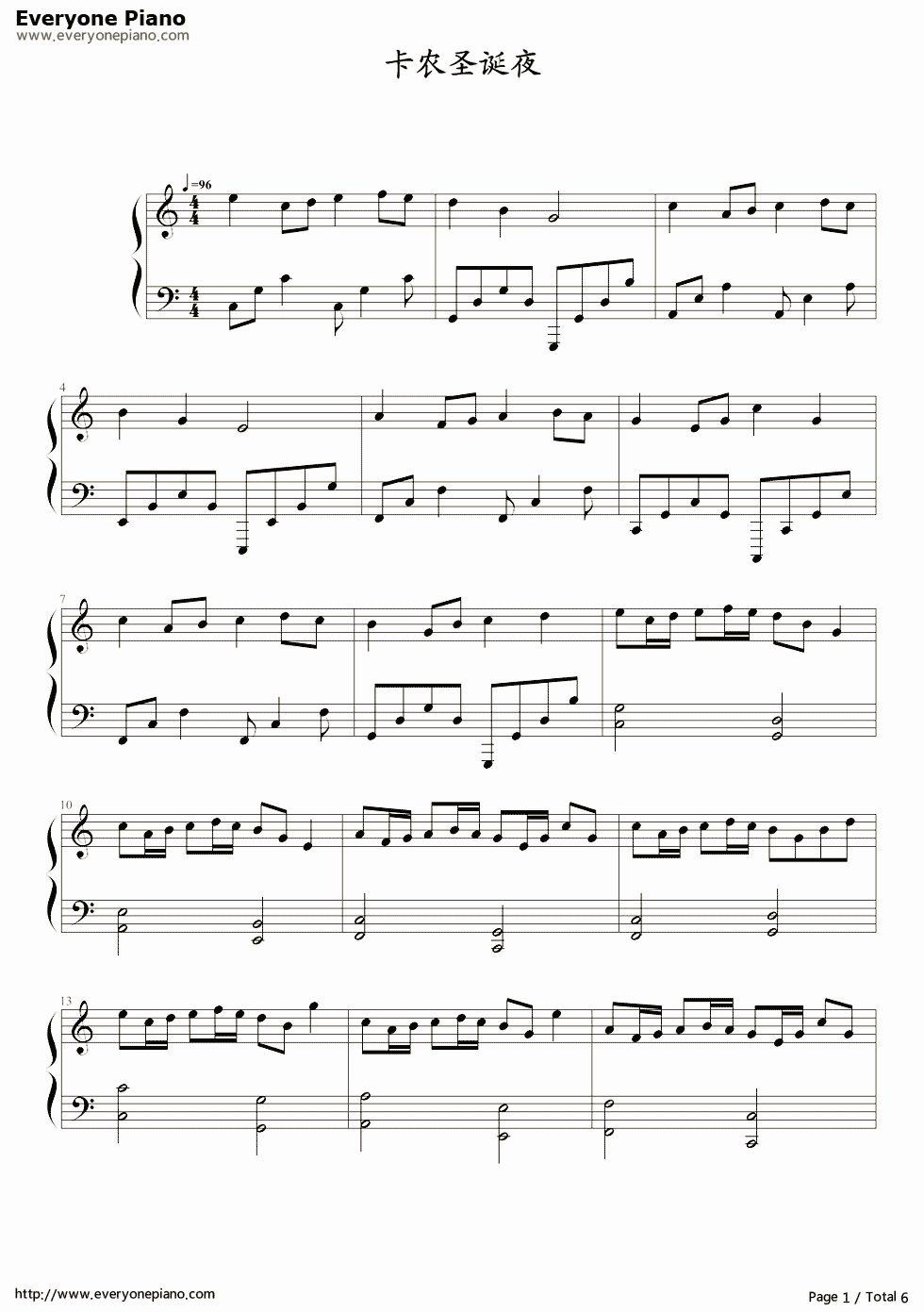 Free Christmas Canon-Favorite Christmas Song Sheet Music Preview 1 ...