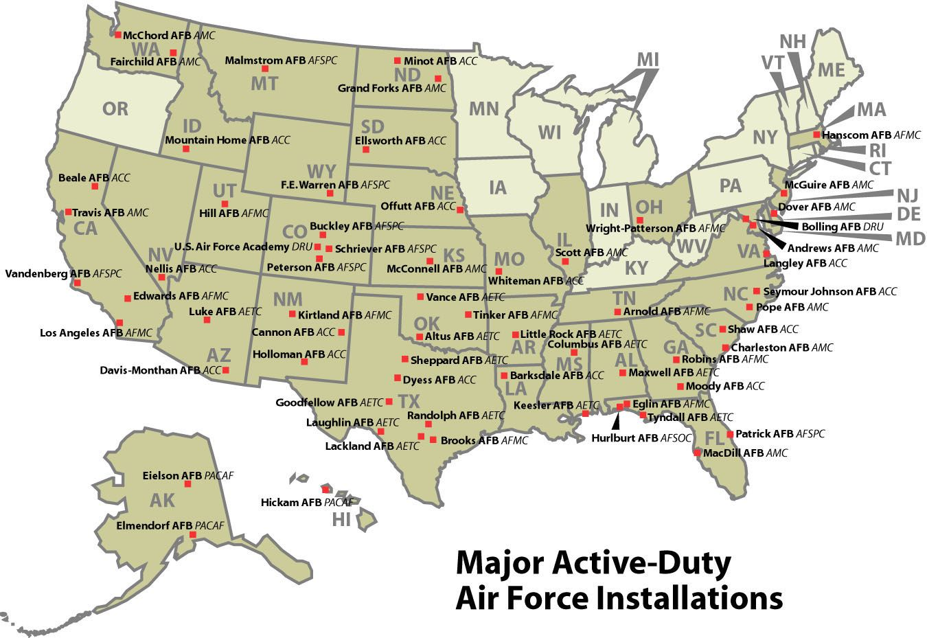 Map Of Us Air Force Bases Military Bases   Community   MilitarySpot.| Us air force bases