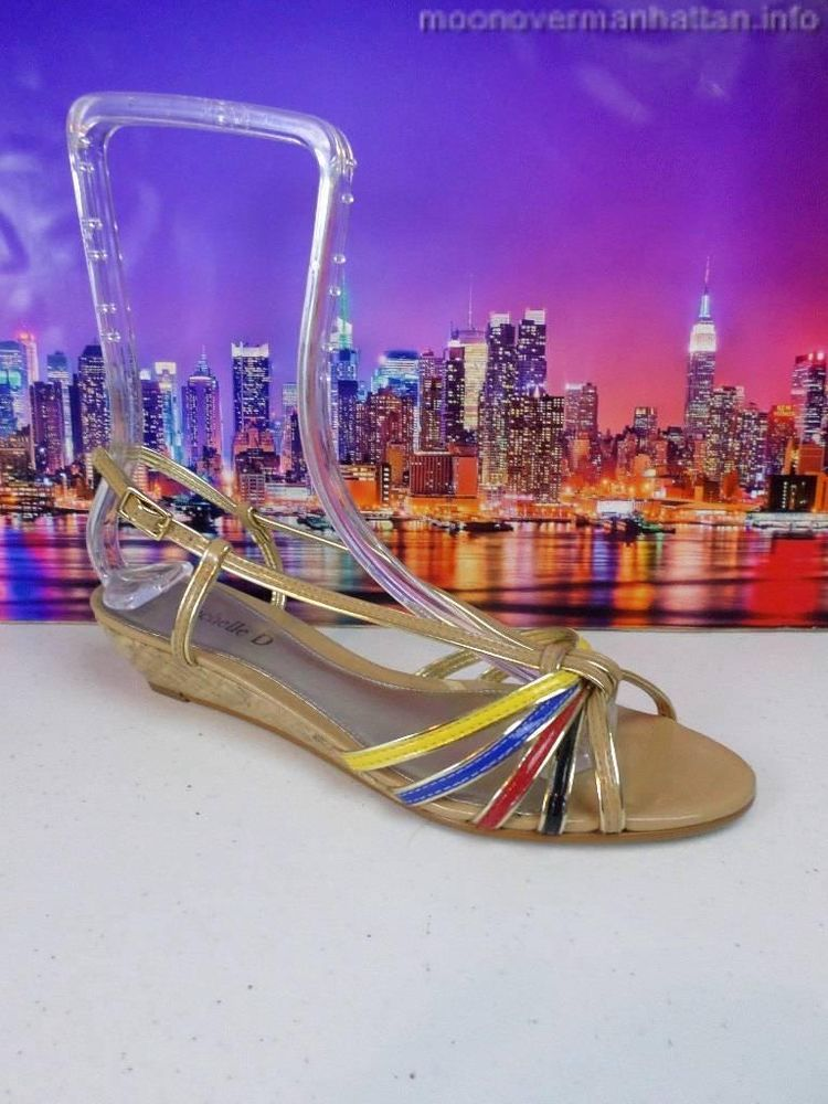 Womens shoes MICHELLE D nude gold multi color strappy Cork Wedge Sandal sz 8.5 M #PlatformsWedges