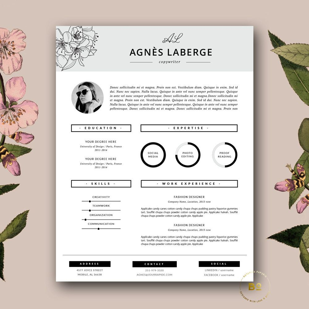Floral Resume Design Fashion Cv Feminine Resume Stylish Resume With Photo Beauty Salon Resume For Word Stylist Cv Template Agnes In 2020 Cover Letter Template Free Creative Resume Feminine Resume