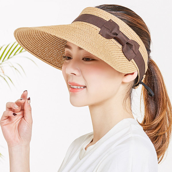 a7672b73 Wide Brim and Visor Style Straw Hats For Women Hollowed-out Top Visor Hats  Adjustable Cap