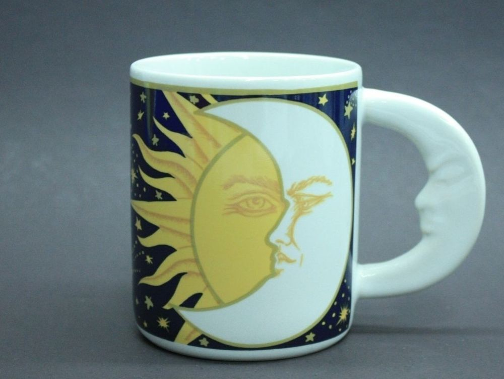 Sun and Moon Ceramic Mug by Vitromaster - 12oz