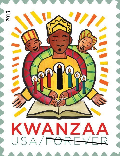 2013 U.S. Kwanzaa stamp; This stamp - the fifth Kwanzaa issuance to date - is set apart from the others by its more playful, even kid-oriented, style.