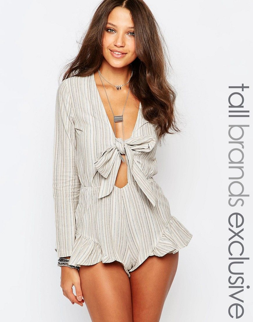 8e8f8438c6d Image 1 of Glamorous Tall Striped Tie Front Romper