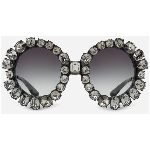 15fd42790 Dolce & Gabbana Round Sunglasses With Swarovski Crystals (5.070 BRL) ❤  liked on Polyvore