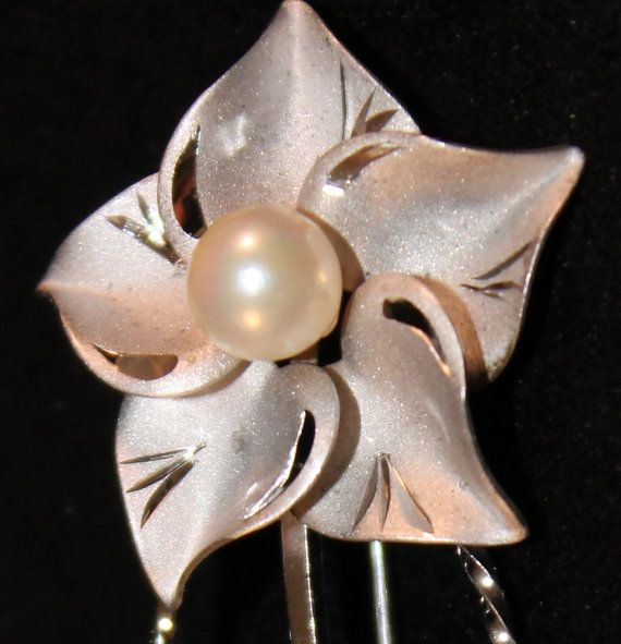 Vintage Sterling flower pin with faux pearls. Signed de C 926 on Etsy, $22.00