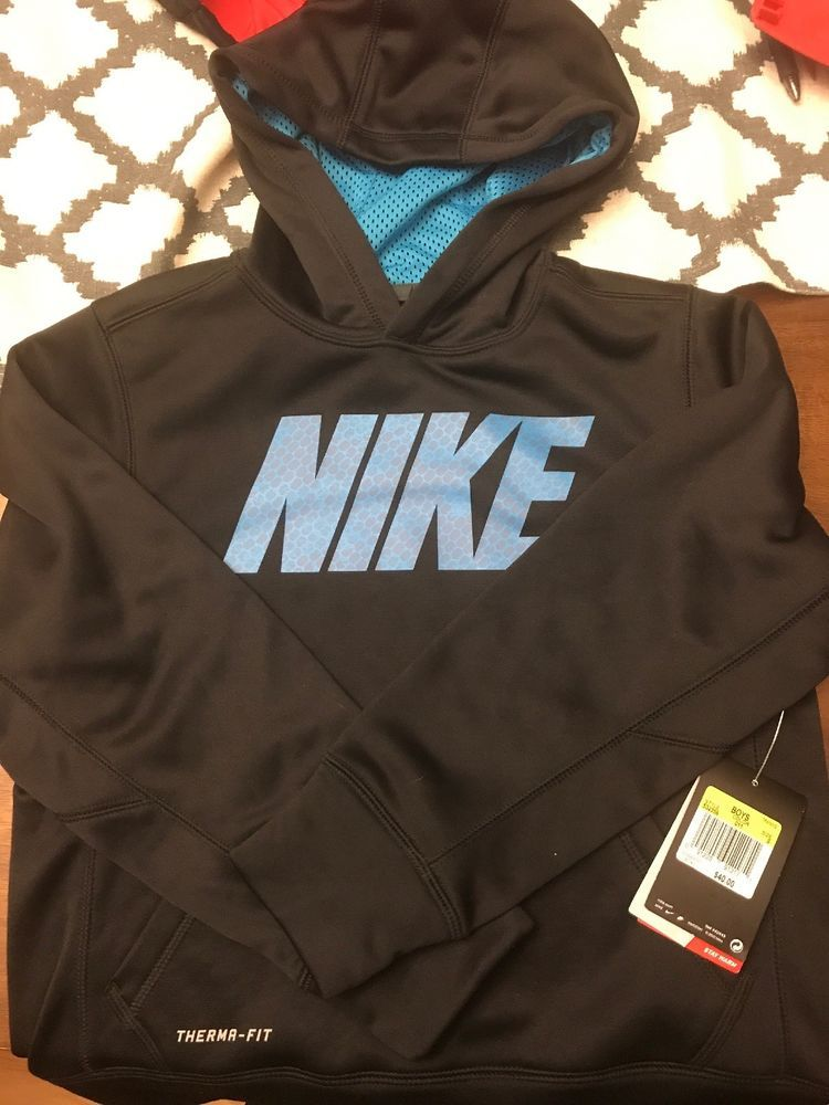 Boys Kids Youth NEW NIKE THERMA Pullover Dark Gray Hoodie Long Sleeve Size Small
