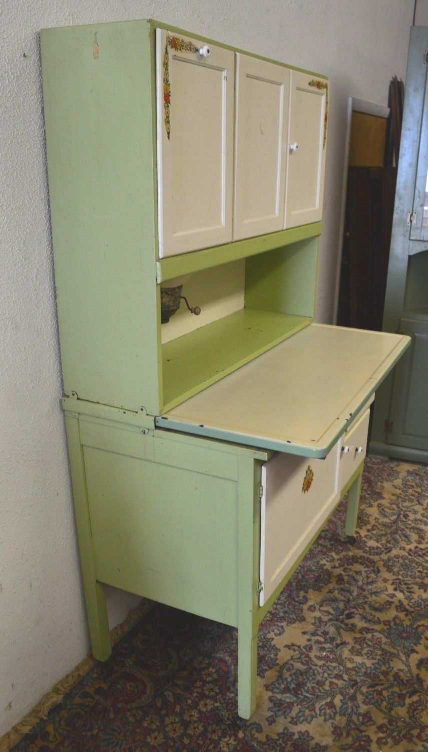 Antique 1920's Hoosier Cabinet with Flour Sifter Porcelain Top Vintage |  eBay - Antique 1920's Hoosier Cabinet With Flour Sifter Porcelain Top