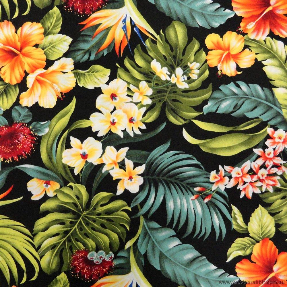 Trans Pacific Textiles Hawaiian Tropical Floral Black 112cm 44