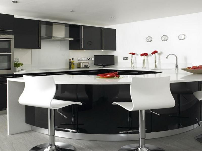 Black and White Kitchen Pictures with Circle Table