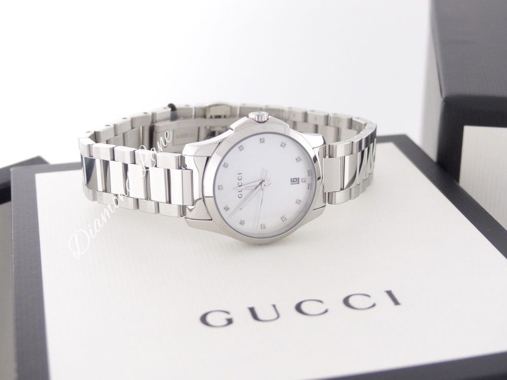 cf702b3f41d NEW Gucci G-Timeless Mother-of-Pearl Diamond Women s Watch YA126542  Gucci