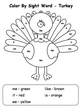Thanksgiving Color By Sight Words Sight Word Coloring Thanksgiving Kindergarten Thanksgiving School