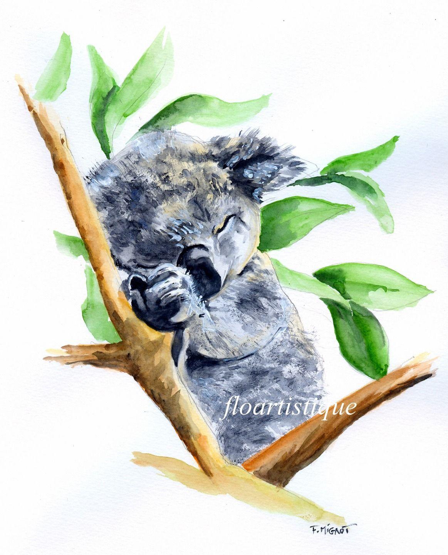Aquarelle Koala Pour Deco Chambre Enfant Peintures Par
