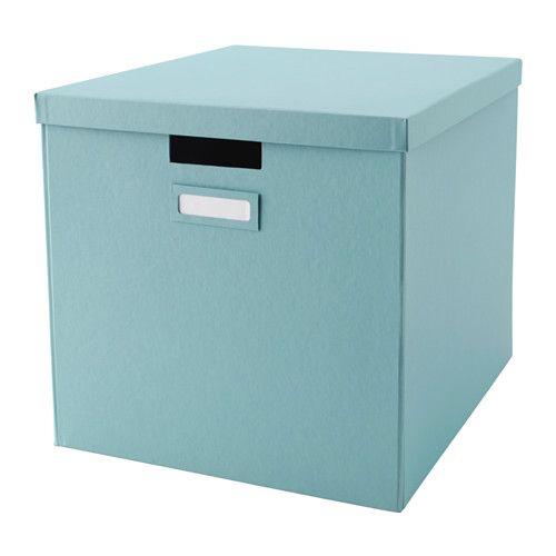 2 TJENA Scatola con coperchio - azzurro  per carta regalo e altre cose leggere