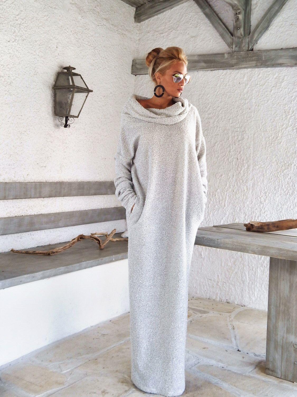 Robe en laine à col roulé en laine d'hiver / Robe longue d'hiver chaude / Robe longue avec poches / Robe grande taille / Robe à col roulé / # 35148