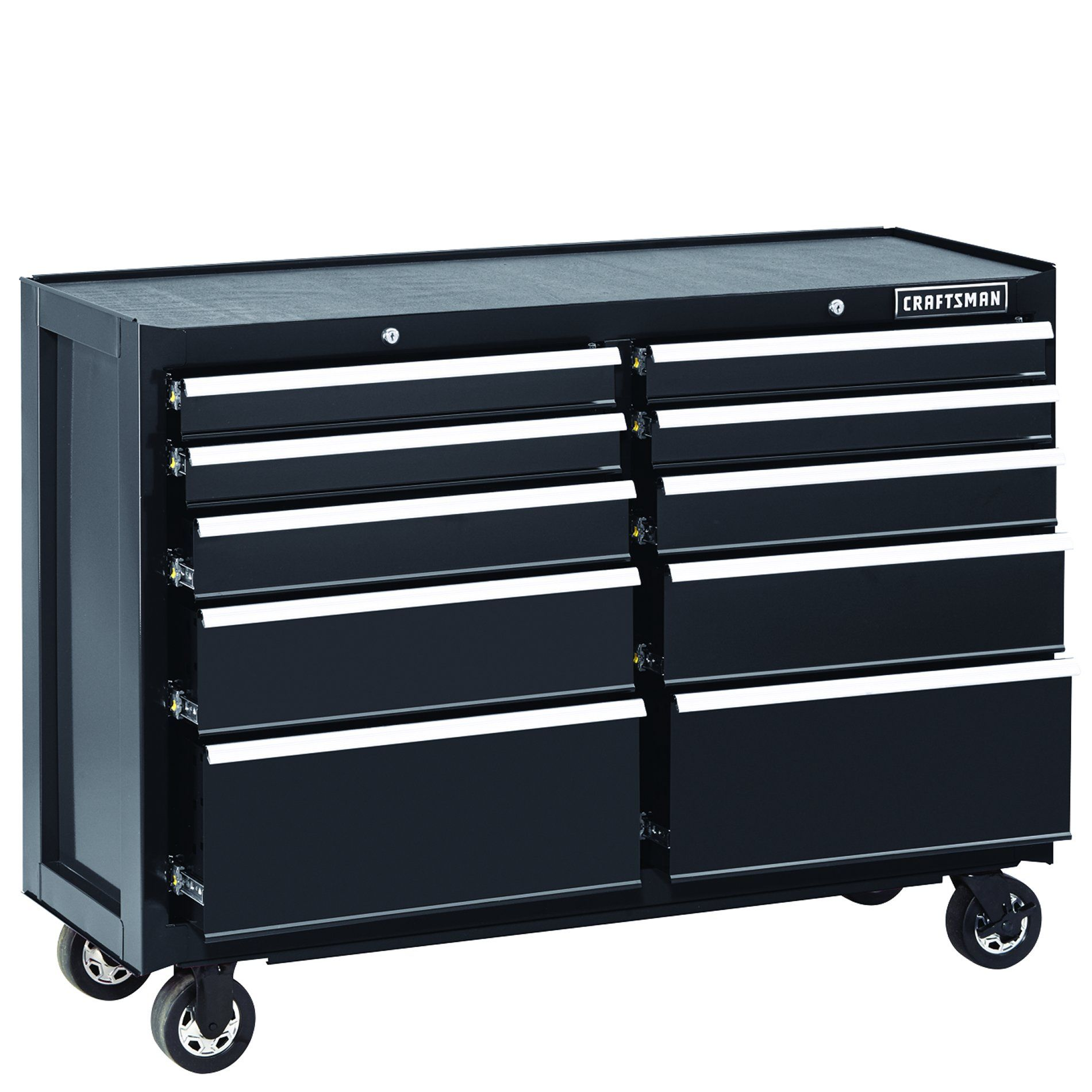 Craftsman 52 Quot 10 Drawer Heavy Duty Rolling Cart Black In 2020 Tool Storage Tool Chest Rolling Cart