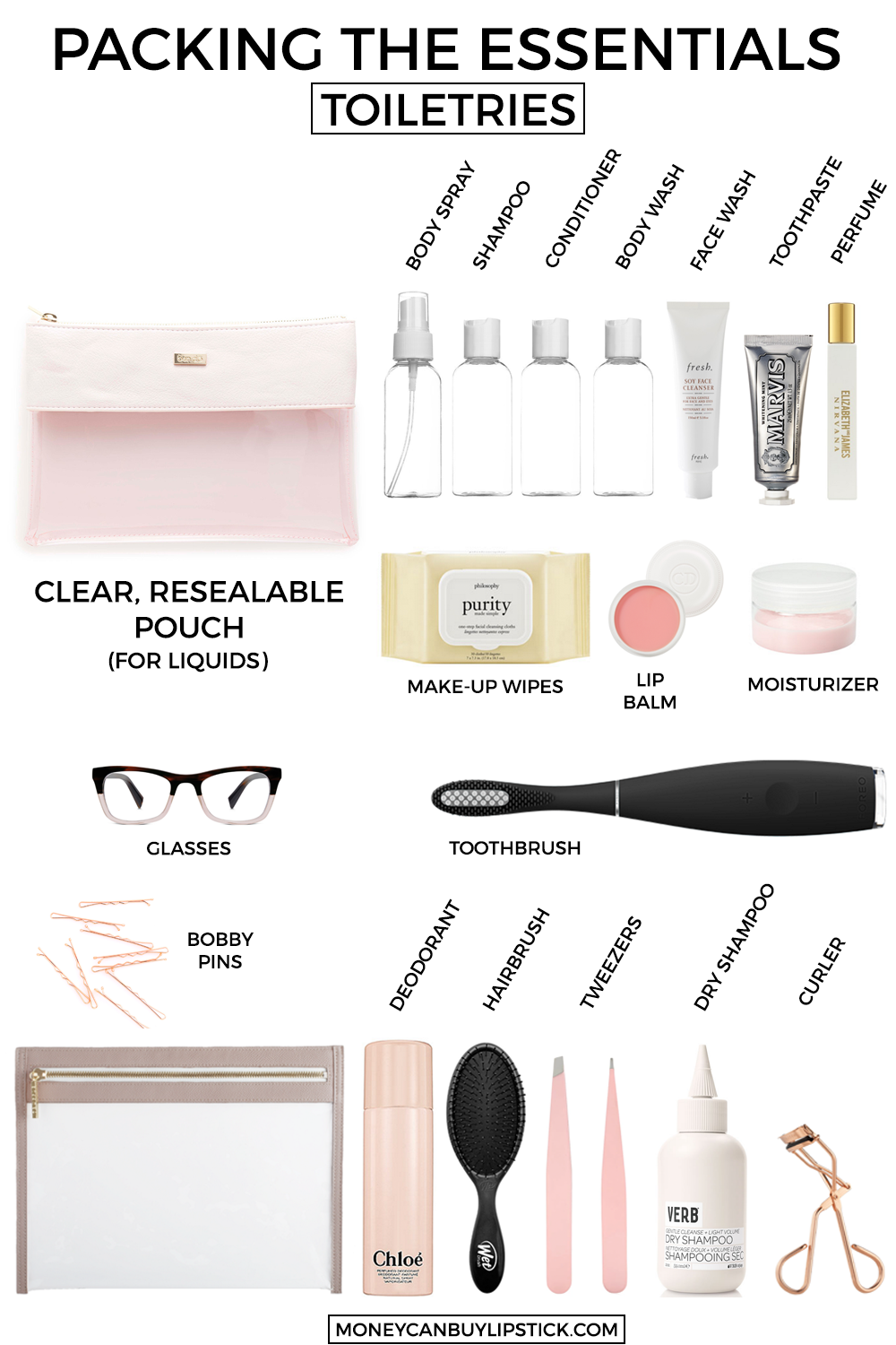 d364f2c8bd What To Pack In Your Toiletry Bag. Vacation Toiletries. Packing toiletries.  Vacation essentials. Packing for vacation. What to pack for vacation on  Money ...