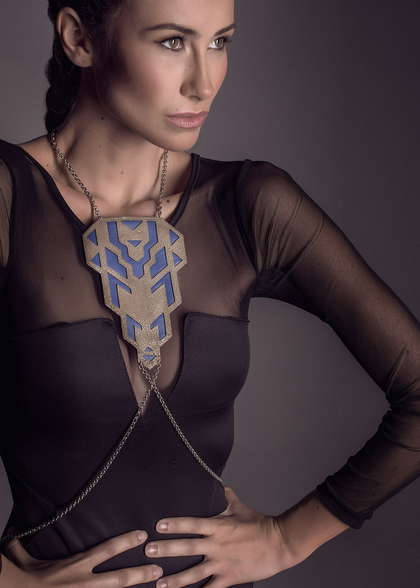 Orion collection by xaruxamu Andromede plastron collar harnais leather cobalt piece inspired by mucha and art deco