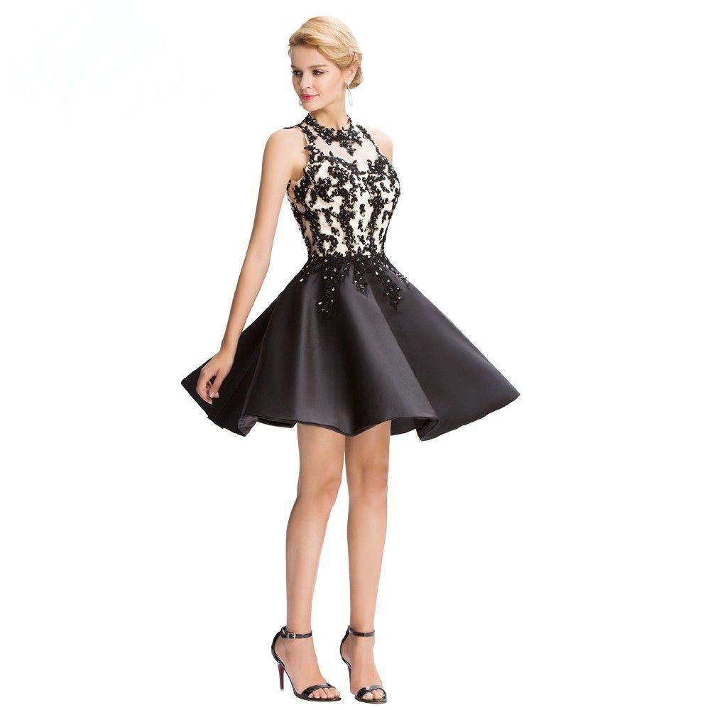 Satin Cocktailkleid mit Stickereien   Schwarze Kleider   Traumhafte ...