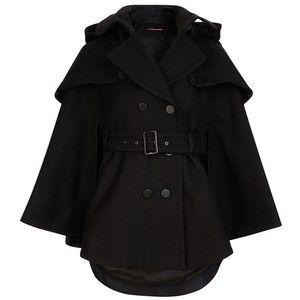 Comptoir Des Cotonniers Trench Cape Sakura Colour Black Black Cape Coat Black Hooded Coat Trench Cape