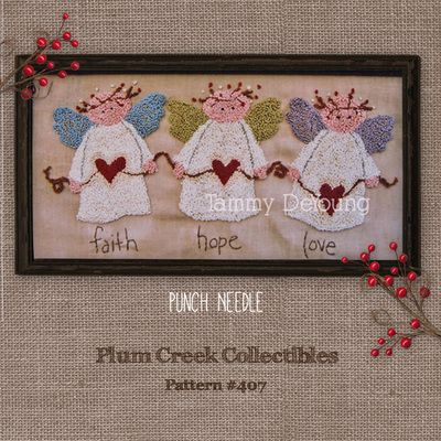 Faith Hope And Love Angel Punch Needle Embroidery Pattern 407