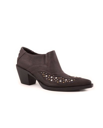 Women's Shoe Boot Vintage Snip Toe With Studs  - Brown
