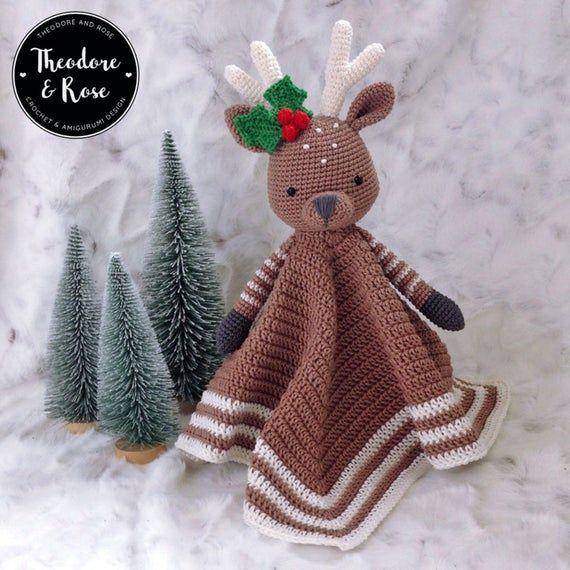 Deer crochet security blanket   lovey   Rupert The Little Reindeer   Crochet Pattern   PDF - PATTERN in English #crochetsecurityblanket