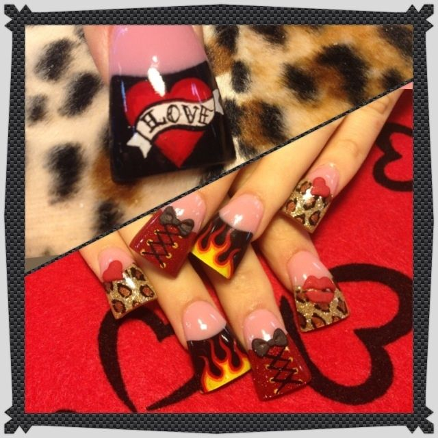 Rock and Roll Valentines - Nail Art Gallery -   Too much all together but I love the flame one :)
