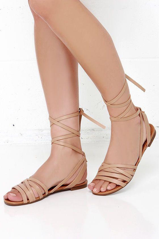 Desert Highness Natural Leg Wrap Sandals