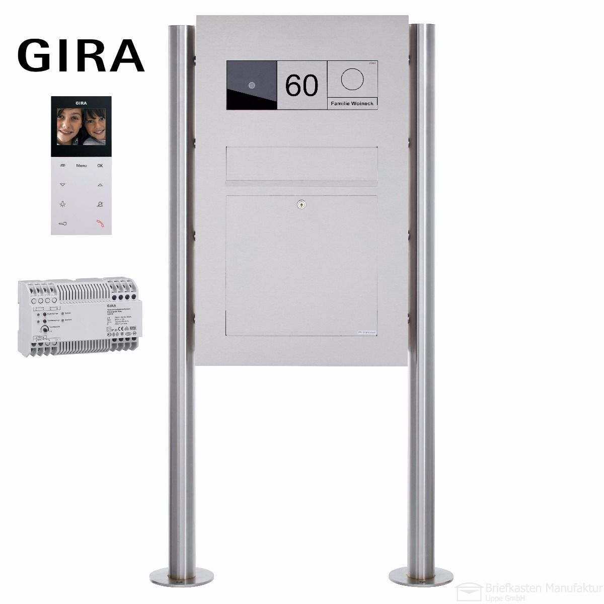 edelstahl standbriefkasten designer modell big mit gira system 106