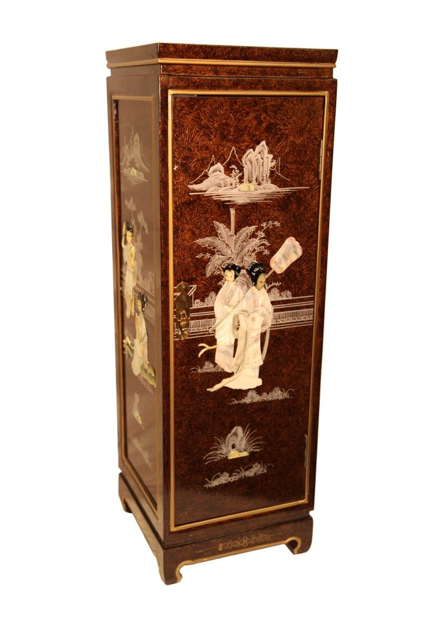 Oriental Furnishings Lacquer Pedestal With Inlaid Mother Of Pearl Asian Furniture Chinese