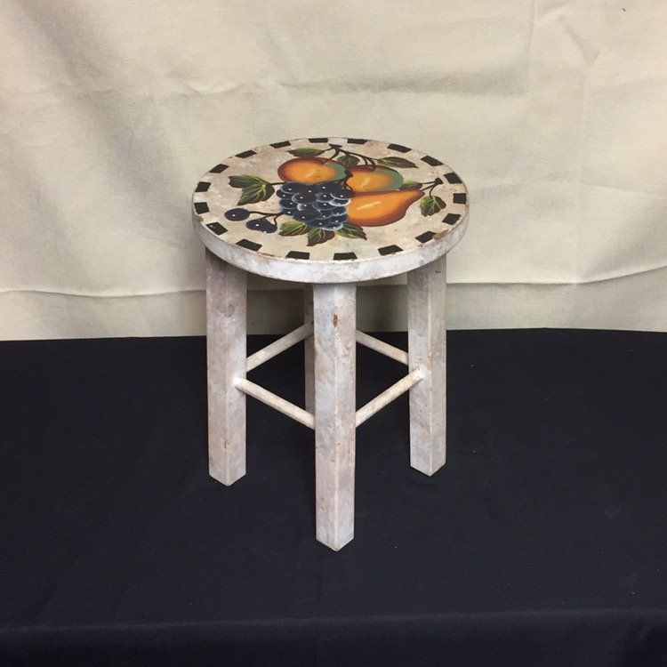 Surprising Small Wooden Stool Painted Fruit Stool Grapes Peaches Squirreltailoven Fun Painted Chair Ideas Images Squirreltailovenorg