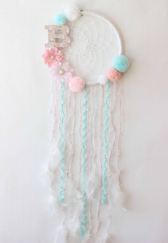 Pink Aqua Dream Catcher Wall Hanging Floral Dream Catcher