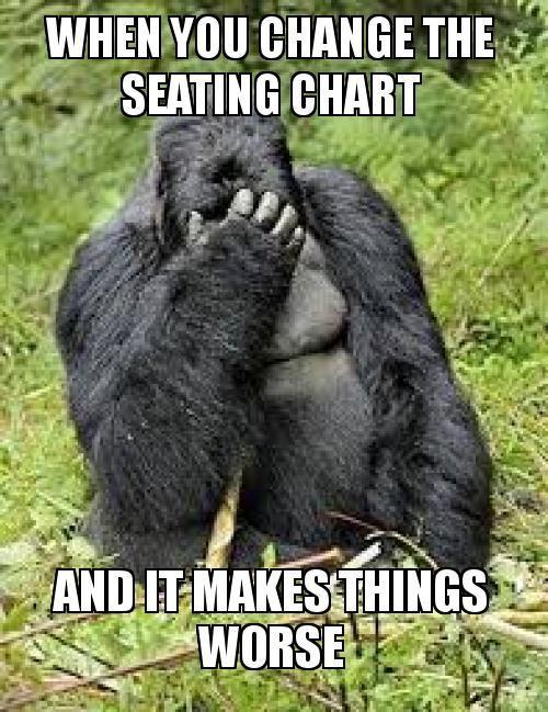 wenn man den Sitzplan ändert und es die Sache noch schlimmer macht Mach ein Meme – #cha …