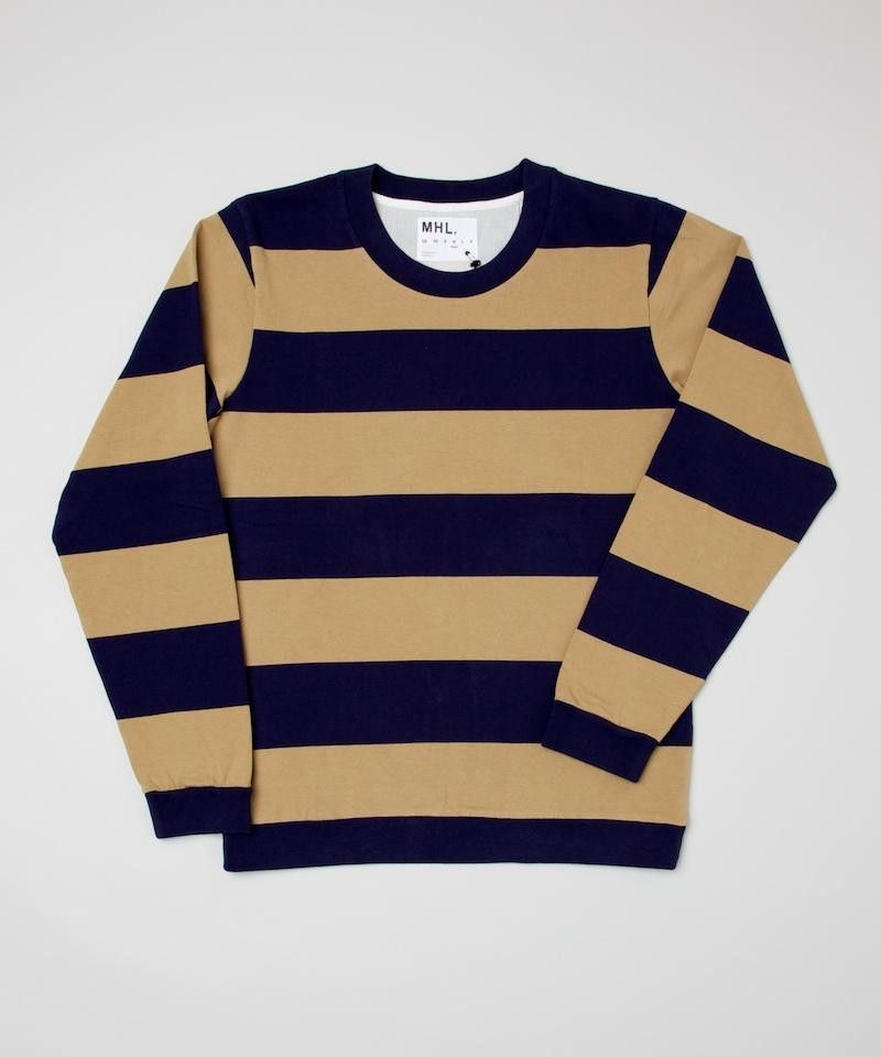 MHL Bold Stripe Sweatshirt - Navy and Flax