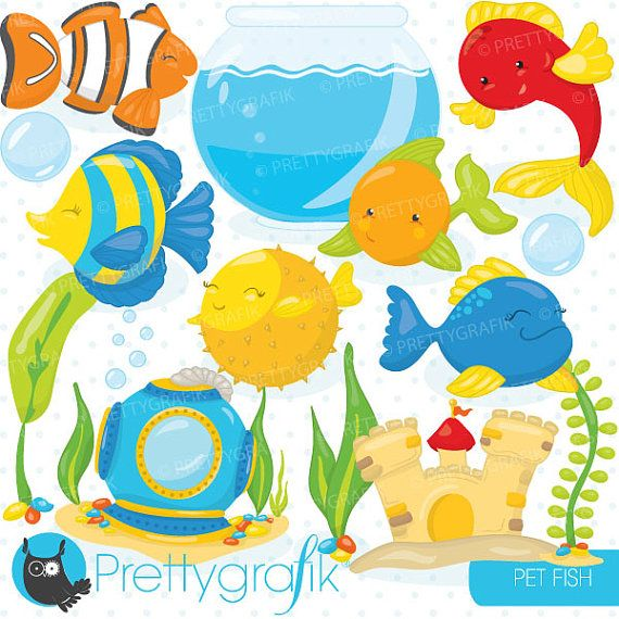 Buy 20 Get 10 Off Fish Bowl Clipart Commercial Use Pet Fish Etsy Clip Art Pet Fish Digital Clip Art