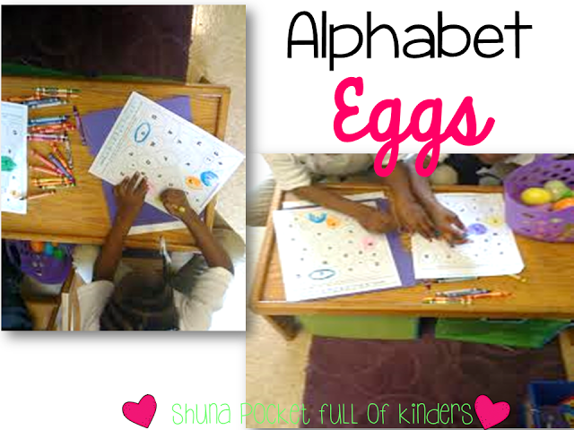 Pocket Full of Kinders! Cute center idea using plastic eggs. There is also a free printable to go along with this center